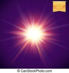 concentration étoile, réaliste, sombre, arrière-plan., incandescent, soleil, clair