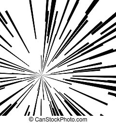 concentration étoile, résumé, lignes, mouvement, noir, vitesse