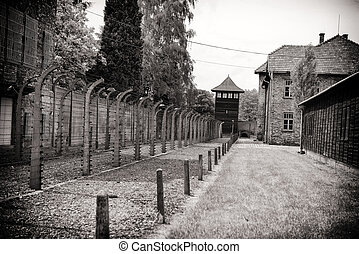 concentration camp - Brick barracks in concentration camp