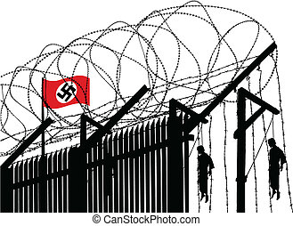 Vector illusration of german concentration camp fence topped with barbed wire and hanged people in background