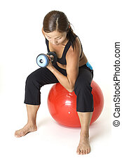 Concentration Curl 2 - A female fitness instructor...