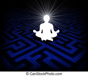 Illustration of a person meditating over a maze background