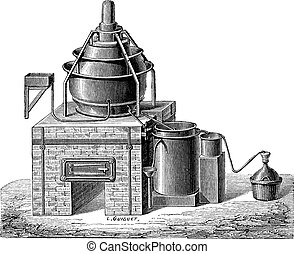 Concentration of Sulfuric Acid, vintage engraving