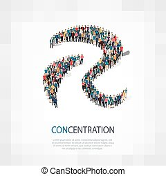 concentration   people sign 3d