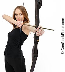 Concentration - woman with bow - Beautiful woman ...