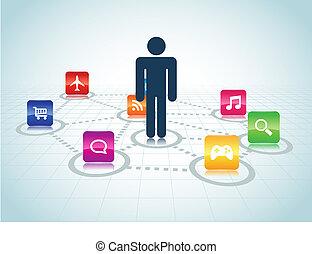 concentrato, disegno, apps, utente