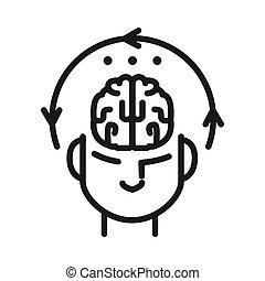 concentrazione, disegno, mentale, illustrazione