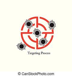 concentre disparando, agujero de bala, símbolo, vector