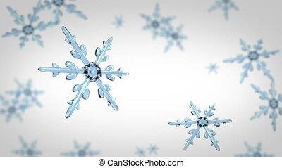 concentrer, fond blanc, flocons neige, hd