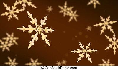 concentrer, fond, hd, or, flocons neige