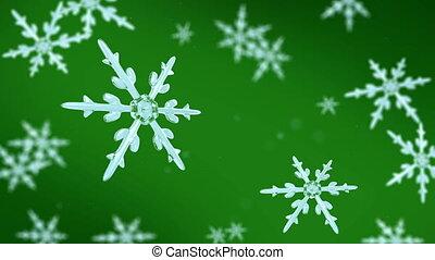 concentrer, fond, vert, flocons neige, hd