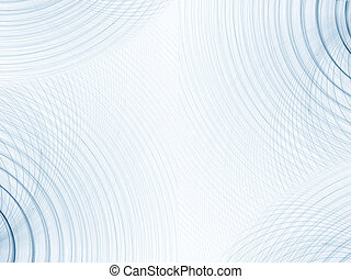 A background of blue concentric circles on white