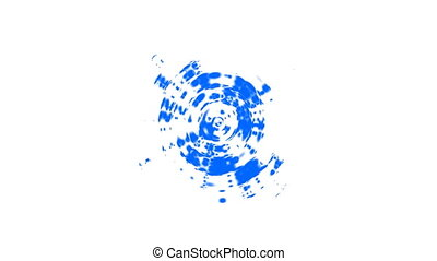 Concentric abstract blue Waves ripples. Circular radial...