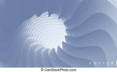 Concentric abstract pattern created from repetitive elements. 3d vector illustration.
