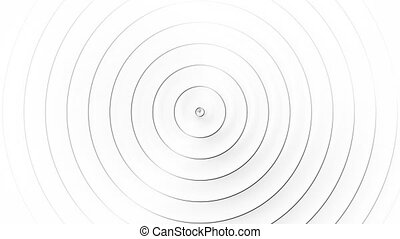 Concentric black rings moving on the white background. Radio...