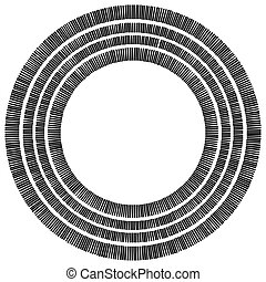 Concentric circle element made of rectangles. Geometric circle design.