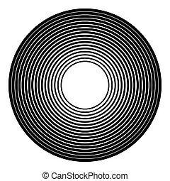 Concentric circles geometric element. Radial, radiating...