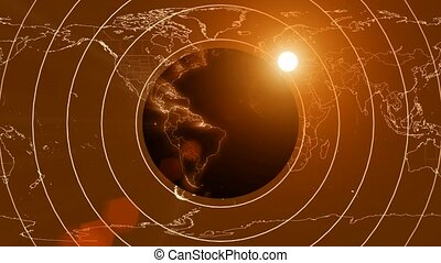 Concentric circles over world map