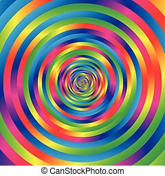 Concentric colorful spiral w random circles. Abstract...
