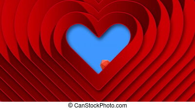 Concentric hearts against multiple heart icons on blue background