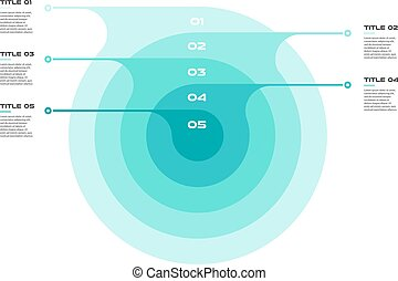 Concentric infographics step by step in a series of circle. Element of chart, graph, diagram with 5 options - 20, 40, 60, 80, 100 percent, parts, processes. Vector business template for presentation