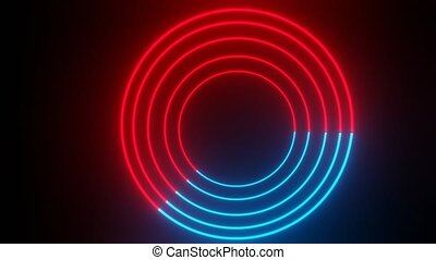 Concentric light neon targets in blue and red. Continuous rotation of the circular slice when alternating blue and red Animation of concentric circles on black background. FullHD quality