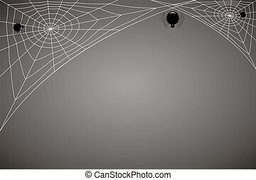 concentric web with black spiders on gray background