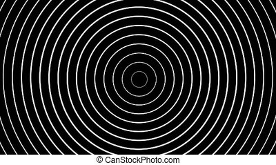 Concentric white rings moving on black background. Animation...