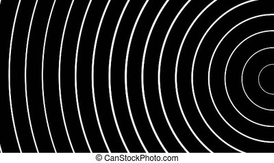 Concentric white semirings moving on black background....