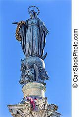 concepção, coluna, virgem, roma, estátua, itália, mary,...