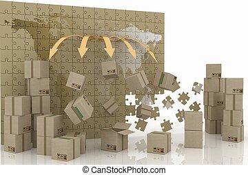concepción, de, mundo, trade., 3d, concepto, de, logistic.