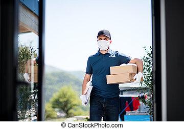 concept., átadó, futár, izolál, csomag, arc, korona, vírus, ...