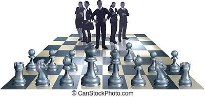 concept, échecs, equipe affaires
