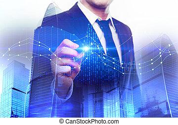 concept, économie, analytics