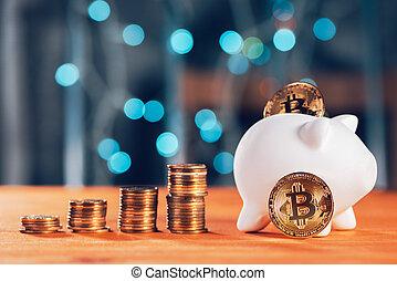concept, économie, bitcoin, investissement