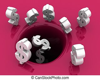 concept, économie, dollars, automne, trou, investissement