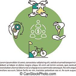 concept, économie, icône, texte, pair