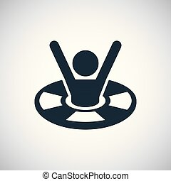 concept, économie, simple, symbole, lifebuoy, gabarit, branché, icône, homme