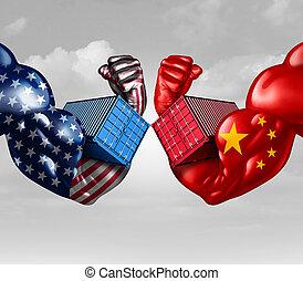 concept, économique, guerre, commercer