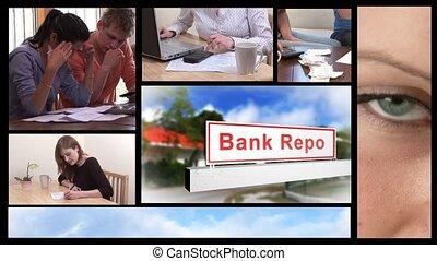 concept, économique, récession, animation