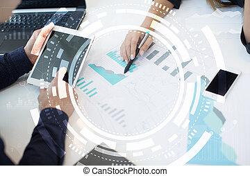 concept, écran, virtuel, business, technologie internet