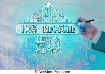 concept, écriture, ensemble, biodégradable, recycle., ...