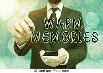 concept, écriture, texte, inoubliable, passé, chaud, events., collection, évoquer souvenirs, signification, memories.