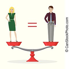concept, égalité, genre, femme, équilibré, scale., homme
