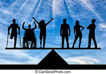 concept, égalité, personnes, incapacités, légal, société, b, social