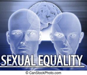 concept, égalité, résumé, illustration, numérique, sexuel