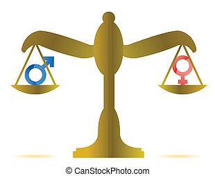 concept, égalité, sexe