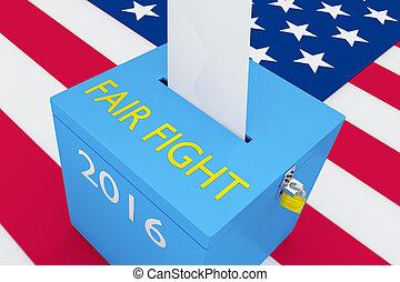 concept, élection, foire, baston