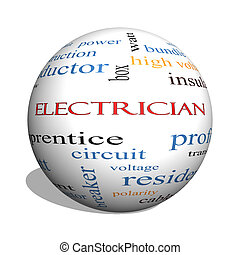 concept, électricien, sphère, mot, nuage, 3d