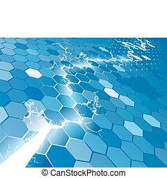 concept, électrique, fond, hexagone
